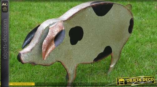 Animal décoratif : cochon en métal pour jardin