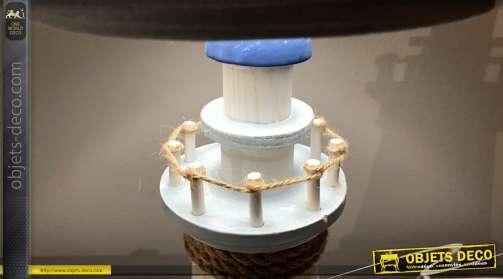 Lampe phare décoratif en bois et cordage coloris bleu et blanc