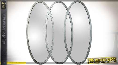Miroir mural décoratif design composé de 3 ovales entremêlés en métal finition argentée