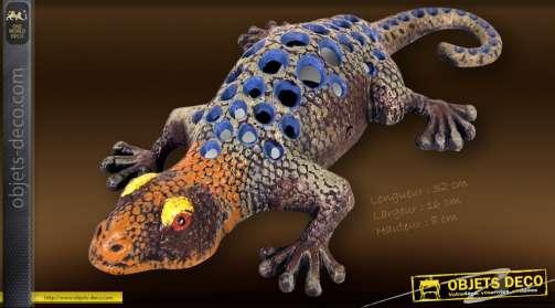 Gecko en métal peint à la main