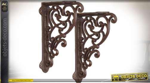 Duo d'équerres en fonte finition métal brun vieilli 25 x 14 cm