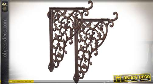 Duo de grandes équerres décoratives en fer forgé et métal avec finition métal oxydé antique