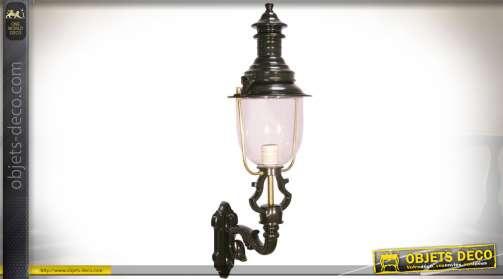 Applique lanterne murale ancienne en aluminium, finition noir et doré Ø 32 cm