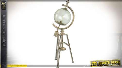 Lampe sur trépied en métal vieilli en forme de cadran solaire armillaire