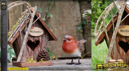 Nichoir pour oiseau en bois, corde de suspension modele Welcome