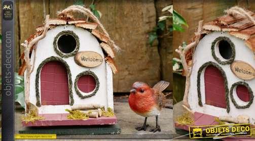 Nichoir à oiseau en bois, finition naturelle, à suspendre