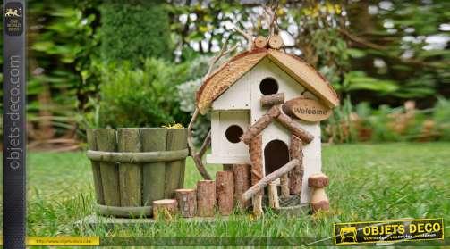 Nichoir pour oiseau en bois et corde, finition naturelle 32cm