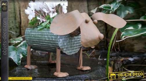 Porte plante en forme de chien finition rouillé et zinc ancien, 21cm de haut