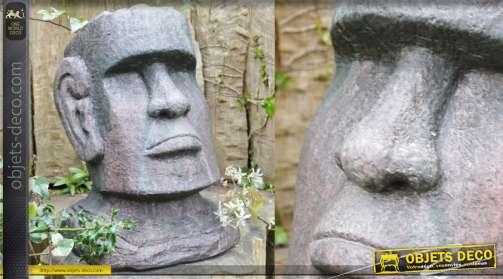 Tête d'homme de l'ile de Pâque en simili pierre finition ancienne 44cm