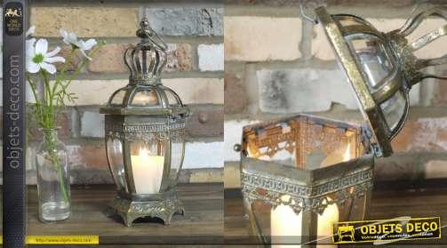 Lanterne en métal de style baroque avec chapeau en couronne 15cm de diam