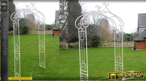 Arche de jardin en métal blanc finition usé, démontable 240 de hauteur finale