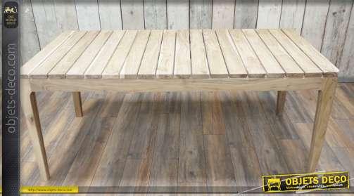 Table d'extérieur en acacia massif, finition naturel, traité humidité