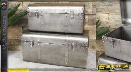 Serie de coffre en métal de style indus, malle d'atelier, tailles différentes