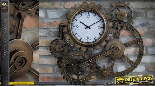Grande horloge murale de style industriel en forme d'engrenage industriel finition effet métal cuivré vieilli