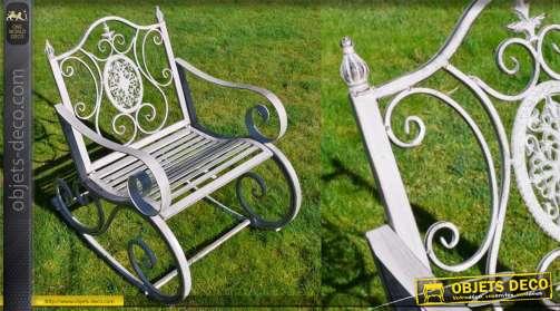 Fauteuil de jardin type rocking chair, en métal finition gris ancien