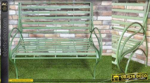 Banc de jardin démontable, en métal style fer forgé, clayette large, vieux vert