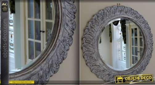 Miroir style Shabby Chic blanchi Ø 60 cm