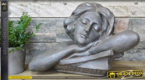 Déco en résine pour jardin ou salon, aspect pierre ancienne, 34cm de haut