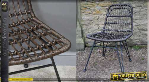 Chaise en simili rotin et métal noir, style moderne, usage extérieur
