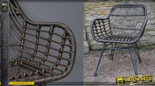 Fauteuil d'extérieur en rotin synthétique, finition foncé, pieds en métal