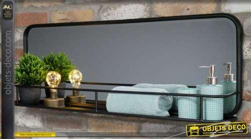 Miroir en métal avec avancée de 14cm de profondeur, style moderne