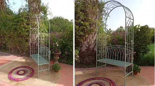 Banc de jardin en fer forgé avec arche, vert olive motifs d'arcades