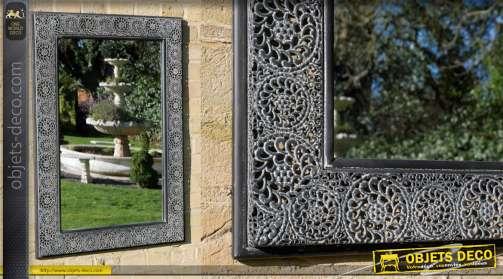 Miroir de jardin ou terrasse en métal style marocain 90cm