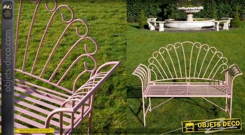 Banc de jardin finition rose ancien, modele avec dossier effet roue du paon
