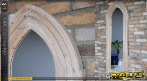 Miroir fenetre gothique, encadrement en bois finitioin blanchie, 172cm