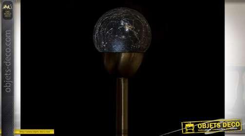LAMPE SOLAIRE LED ACIER 6X6X34 6H. BALL ARGENTÉ