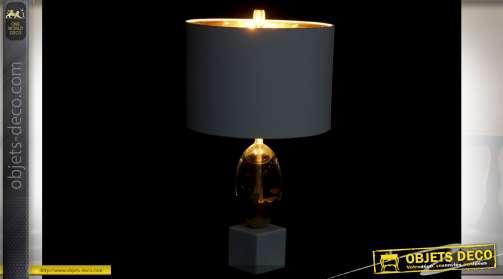 LAMPE DE TABLE VERRE MÉTAL 35X35X65 65 SPH RE DORÉ