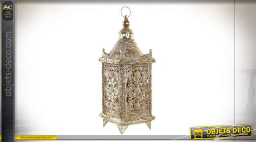 Lampe de table en métal et verre en forme de lanterne dorée orientale électrifiée