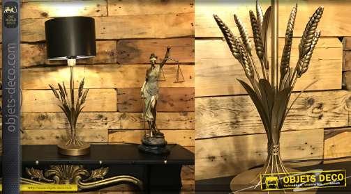 LAMPE DE TABLE MÉTAL 25X25X50 FEUILLES NOIR