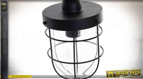 LAMPE APPLIQUE MÉTAL VERRE 22X15X35 NOIR