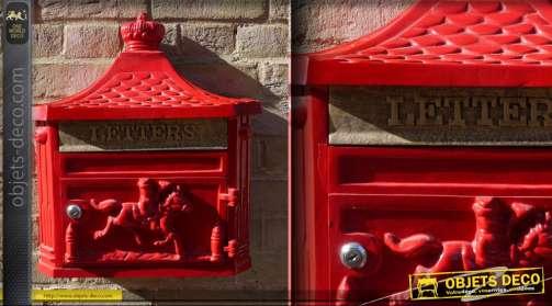 Boîte aux lettre rouge en fonte d'aluminium style anglais