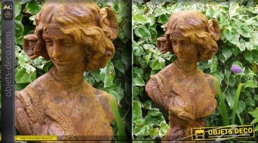 Sculpture buste de femme finition rouille