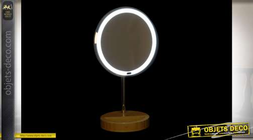MIROIR LED BAMBOU 20X14X34 5X NATUREL