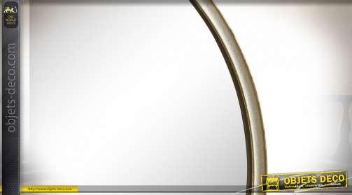 Miroir rond avec chainette de suspension, en métal finition dorée, de style moderne discret, Ø35cm