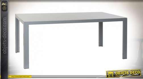 TABLE SET 7 ALUMINIUM VERRE 180X90X75,5 GRIS