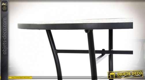 TABLE MÉTAL PIERRE 60X60X72 MOSAIQUE MULTICOLORE