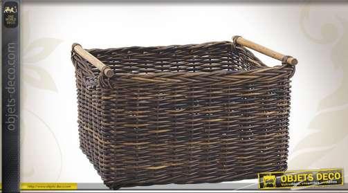Panier en poelet noir pour transport et distribution de bûches de cheminée