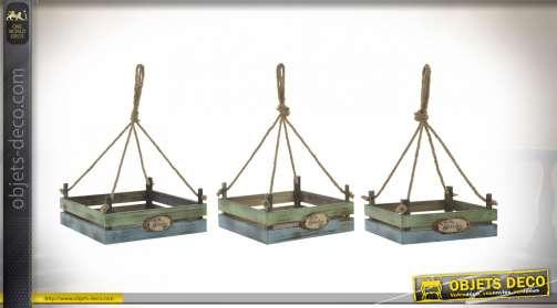 Série de trois plateaux suspendus pour exposition de plantes, finition ancienne bleu et naturel, cordes de suspension