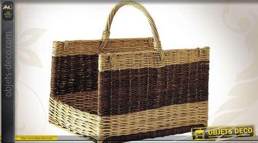 Panier à bûches en osier, coloris marron et paille, forme rectangulaire