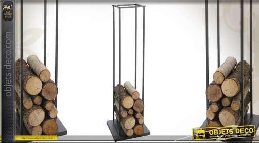 Range-bûches en métal design vertical 115 cm