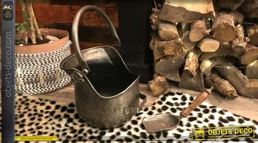 Seau à cendres de style vintage avec sa pelle finition étain antique