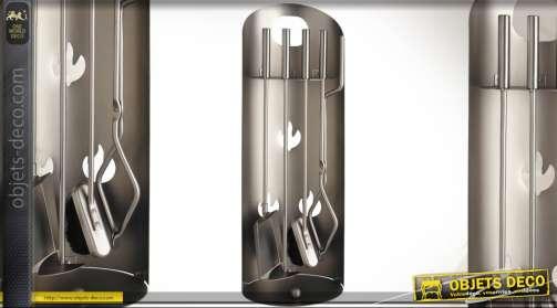 Valet de cheminée de style design finition métal brossé cuivré