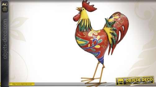 Grand coq multicolore décoratif en métal