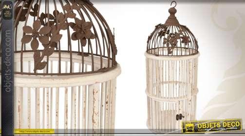 Cage à soiseaux de style baroque et rétro en bois et métal blanc antique et marron