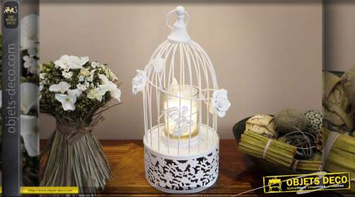 Mini cage à oiseaux avec bougeoir de style romantique