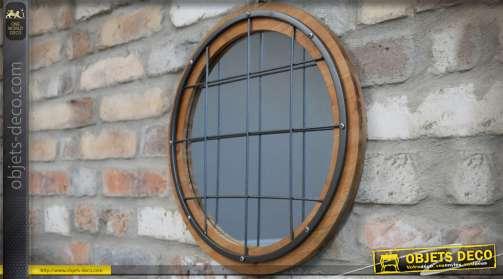 Miroir hublot de forme ronde et de style industriel en bois, métal et verre Ø 40 cm